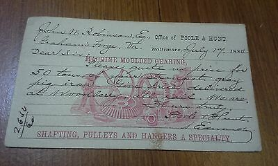 """Collectible 1884 Post Card  """"POOLE & HUNT""""   Baltimore, MD"""