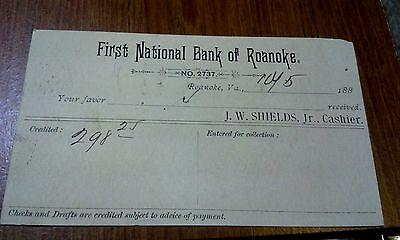 "Collectible 1880's Post Card  ""First National Bank of Roanoke""   Roanoke, VA"
