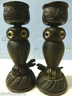 Pair Of Finely Carved Irish Bog Oak Owl Candlesticks - Killarney - Very Rare