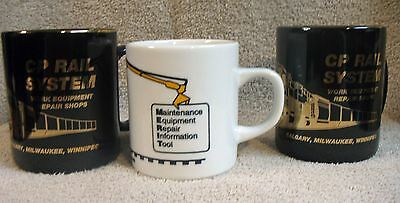 Lot of 3 Vintage CP Rail System Railroad Ceramic Mug Cup VG Condition