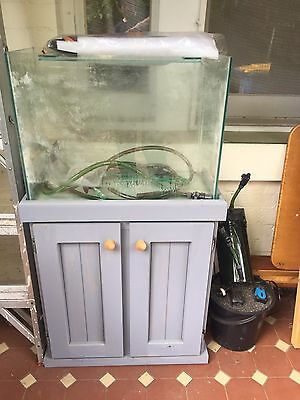 2 foot fish tank, stand, gravel and filter