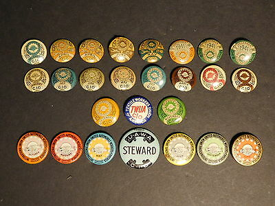 Lot of 26x Pieces, 1930's & 40's United Automobile Workers of America Union Pins