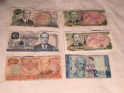 Set of 6 bank notes from Costa Rica, Central America