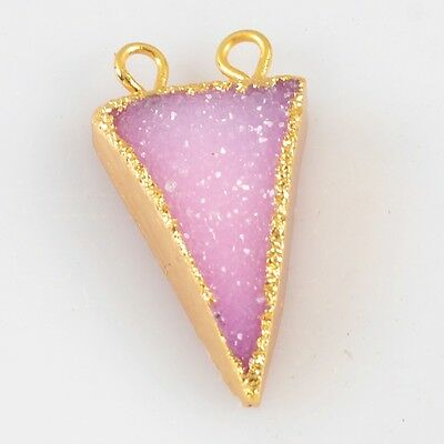 Triangle Hot Pink Agate Druzy Geode Connector Gold Plated H81909