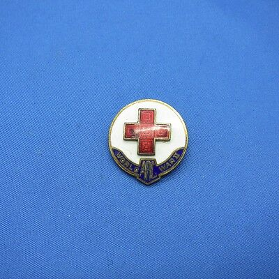 Vintage American Red Cross Enamel Raised Cross Pinback, NR C-1935