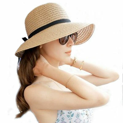 Floppy Foldable Ladies Women Straw Beach Sun Summer Hat Beige Wide Brim  UK2