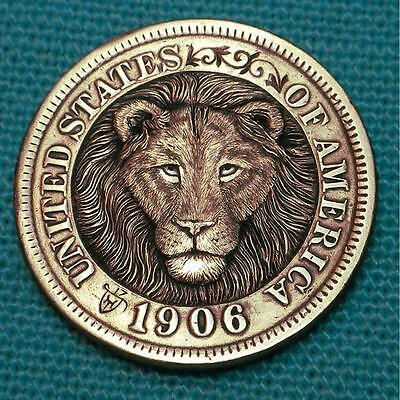 """Hobo Nickel """"Keep Your Head Up & Your Heart Strong"""" Penny Lion  by Howard Thomas"""