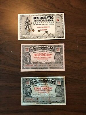 Two 1932 Democratic Convention Tickets And 1952 Ticket