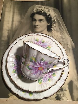 Antique Vintage Trio Cup Saucer Plate Afternoon High Tea Royal Stafford Dahlia