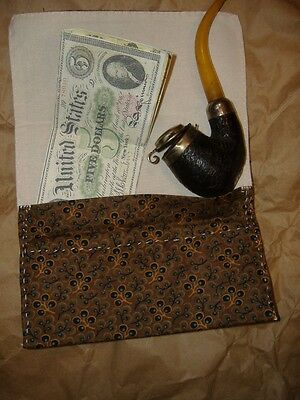 Civil War TOBACCO Pouch, Handsewn DARK BROWN BLUE FLORAL Cotton Leather New Made