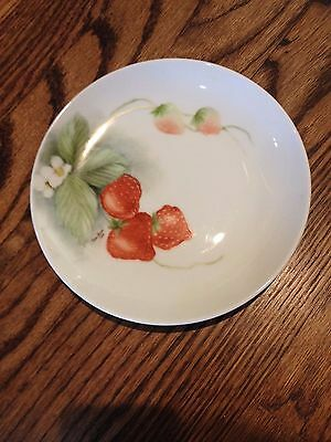 Beautiful Hand-Painted Porcelain Plate with Strawberries