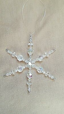 Two Glass Crystal Beaded Snowflake Ornament Suncatcher Decorations *6