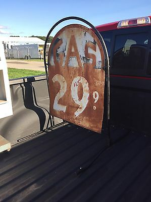 Tombstone Style Gas Station Price Sign, Oil, Patina
