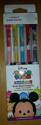 Disney Tsum Tsum Character Scented Colored Pencils Boxed Set/5 Smencils Unused