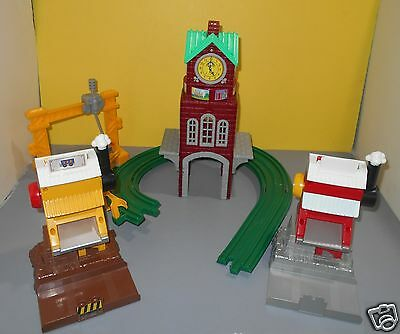 Fisher Price GeoTrax High Chimes Clock Tower Parts Lot w/ Track & Loading