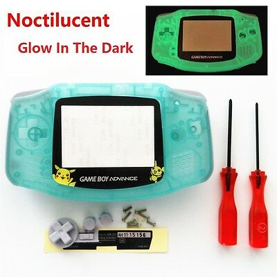 Night Light Noctilucent Pikachu Housing Shell for Game boy Advance - Clear Green