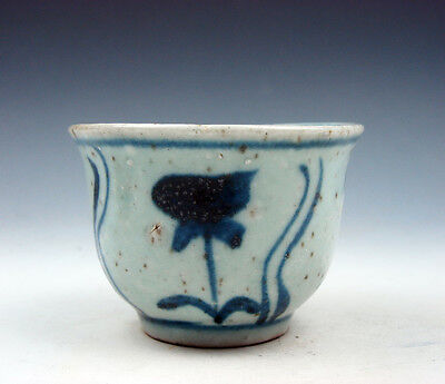 Antique Chinese Blue&White Porcelain Floral Hand Painted Tea Wine Cup #06141602