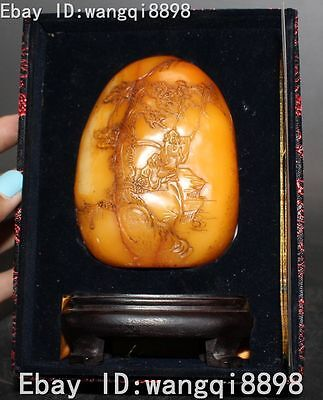Old China Collection Shoushan Stone Carving Pine Tree Boat old man Signet Statue