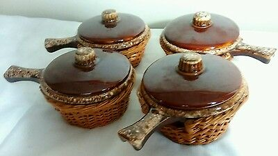 *Set of 4* Hull Brown Drip French Onion Soup Bowls with Handles and Lids