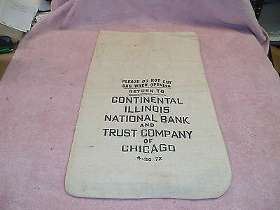 Vintage Continental Illinois Bank Coin Bag , PRISTINE CONDITION