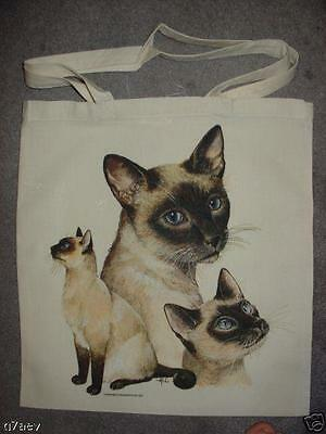 3 Siamese Cat Design Printed Tote Shopping Bag 100% Cotton Long Handels