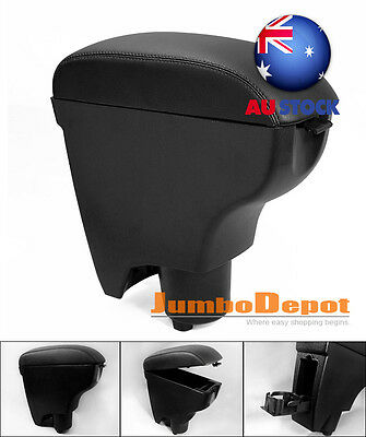 AU BLK Leather Center Armrest Console Box Cup Holder For 06-10 TOYOTA Yaris Vitz