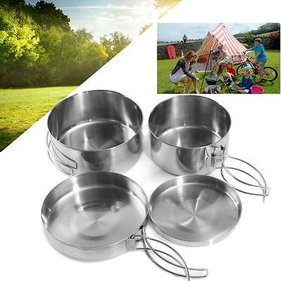 4x Steel Outdoor Camping Hiking Picnic Backpacking Cooking Pot Pan set Cookware