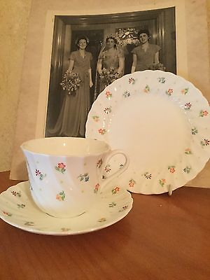 Antique Vintage Trio Cup Saucer Plate Afternoon High Tea Wedgwood Cascade Flower