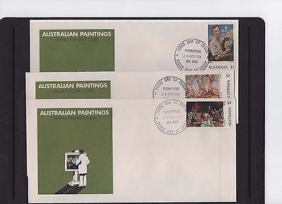 1974 Australian Paintings set of 3 First Day Covers Fremantle WA Cancel