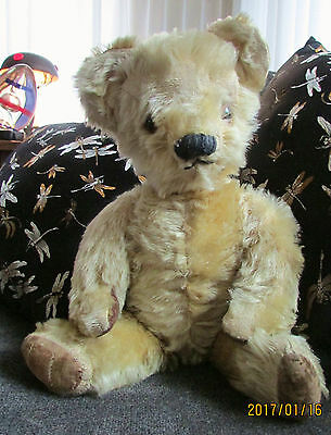 "Antique 1950's 17"" pale blonde English Chad Valley teddy bear, traces of label"