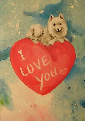 Original Painting~ACEO~Samoyed~Dog~Hand Painted~mini~Valentine~CARD~I LOVE U