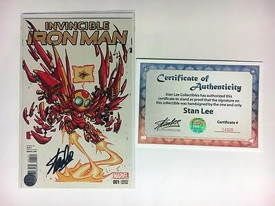 Invincible Iron Man #1 Skottie Young Variant Signed Stan Lee Baby W/ Coa