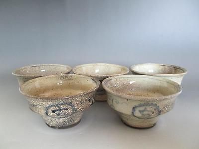 Japanese old Banko ware tea cup 5set w/sign; superb hand-painting/ 4798