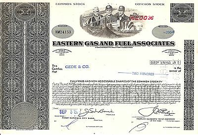 200 Sh. 1975 Old Canceled Stock Certificate Eastern Gas And Fuel Associates