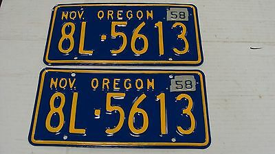 1958 Oregon Restored Pair of License Plates 8L5613