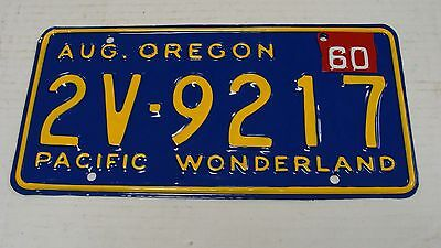 1960 Oregon Pacific Wonderland Restored Pair License Plate