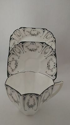 VERY RARE Shelley F11628 Black Floral Garland Queen Anne Shape Cup Saucer Trio