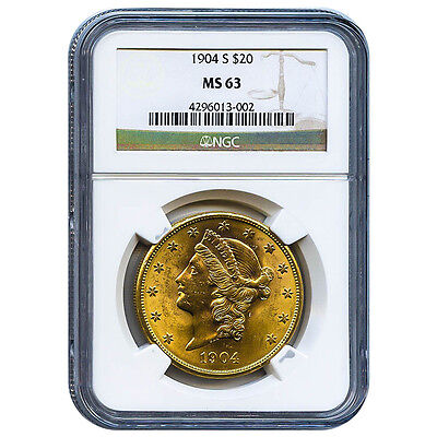 Certified US Gold $20 Liberty 1904-S MS63 NGC