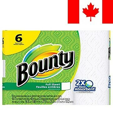 Bounty Paper Towels, White, 6 Regular Rolls
