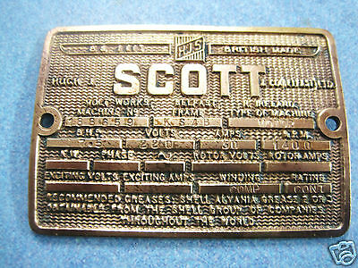 Vintage Antique Brass Engineering Plaque Emblem Advertising Shell Grease Oil