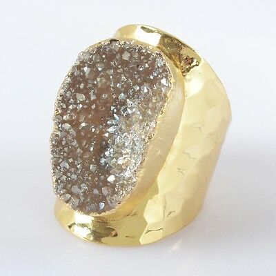 Size 7.5 Natural Agate Titanium Druzy Ring Gold Plated B029977