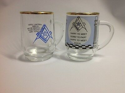A pair of collectable masonic glasses Ampthill Lodge Old English Night Masons