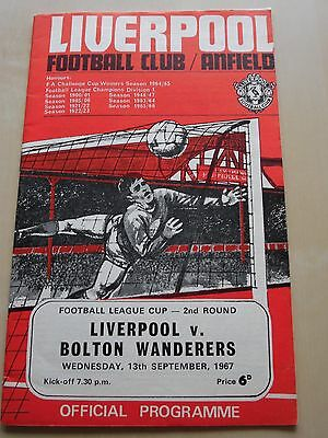Liverpool v Bolton Wanderers  Football League Cup 2nd Round 1967