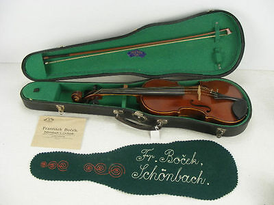 Amazing Antique 1929 Frantisek Bocek Stradivarius Violin & Original Paperwork