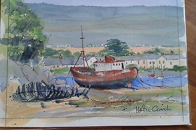 Original watercolour of boat in Bideford estuary by Helen Crouch