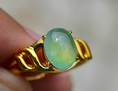 100% Natural Untreated Green Jadeite Jade Type A Glassy Texture Ring 3