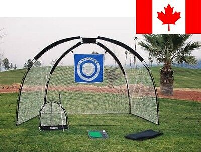 Ajillis Inc 3 in 1 Golf Practice Set Mat, Driving Net, Chipping Net and Bag