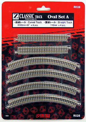 Rokuhan R028 Oval Set A R195mm 45º Curved & 110mm Straight Track (1/220 Z Scale)