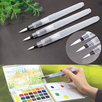 3 Size Reusable Soft Water Brush Pen Paint For Watercolor Beginners Calligraphy