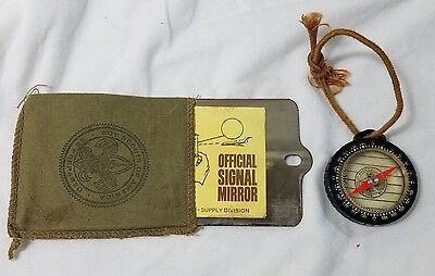 Boy Scouts America Official Signal Mirror in Pouch Instructions & Black Compass
